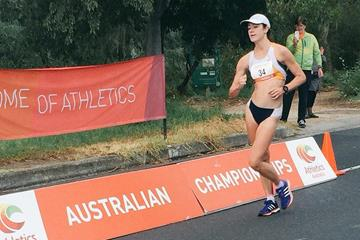 Regan Lamble en route to the Oceania 20km Race Walk title in Adelaide (organisers)