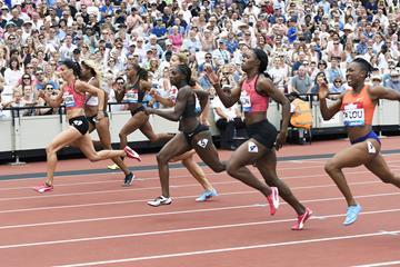 Jenna Prandini takes a narrow 200m victory in London (Mark Shearman)