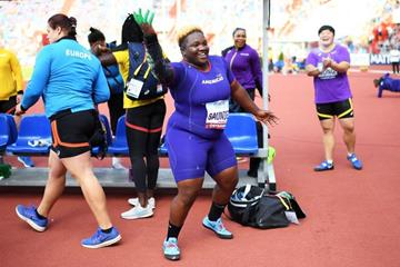 Raven Saunders dancing on the sidelines during the women's shot put at the Continental Cup (Getty Images)