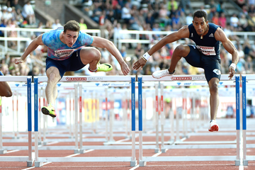 Orlando Ortega on his way to winning the 110m hurdles at the IAAF Diamond League meeting in Stockholm (Hasse Sjogren)