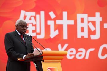IAAF President Diack speaking in Beijing at the 'One Year Countdown Ceremony' (IAAF / LOC)