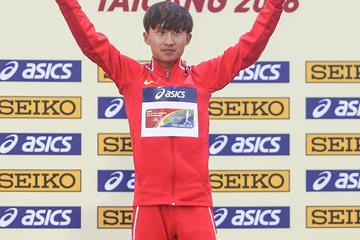 Zhang Yao after winning the U20 men's 10km race walk at the IAAF World Race Walking Team Championships Taicang 2018 (Getty Images)