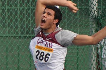 Ashraf Amgad Elseify of Qatar after releasing the Hammer to a world junior lead and Asian Junior record of 80.85m (Rahul Pawar)
