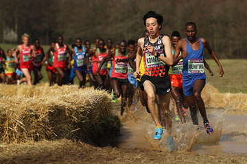 Yohei Komatsu leads during the early stages of the senior men's race at the IAAF/Mikkeller World Cross Country Championships Aarhus 2019 (Getty Images)