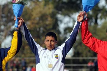 Ecuador's Andres Chocho, winner of the 20,000m Race Walk at the South American Championships (Eduardo Biscayart)