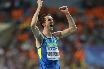 Bogdan Bondarenko celebrates his victory at the 2013 IAAF World Championships (Getty Images)