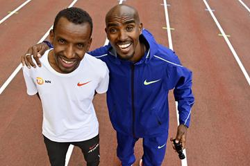 Bashir Abdi and Mo Farah in Brussels ahead of the Memorial van Damme (AFP / Getty Images)