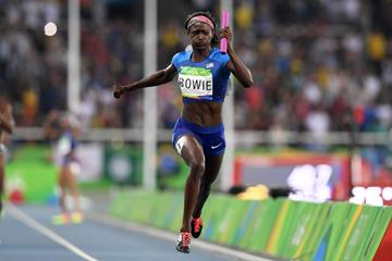 Tori Bowie anchors the USA in the 4x100m at the Rio 2016 Olympic Games (Getty Images)