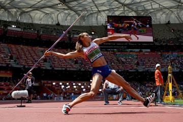 Jessica Ennis-Hill in the heptathlon javelin at the IAAF World Championships, Beijing 2015 (Getty Images)