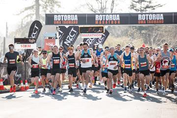 Start of the 2020 Rotorua Marathon (Alisha Lovrich)