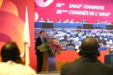 Sebastian Coe addresses the second day of the IAAF Congress in Beijing (Getty Images)