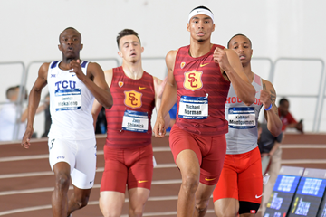 Michael Norman in the 400m at the NCAA Indoor Championships (Kirby Lee)