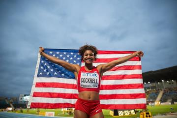 Anna Cockrell after winning the 400m hurdles at the IAAF World U20 Championships Bydgoszcz 2016 (Getty Images)