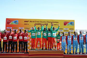 Men's U20 podium at the IAAF World Cross Country Championships Kampala 2017 (Roger Sedres)