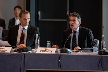 IAAF CEO Jon Ridgeon and IAAF President Sebastian Coe at the IAAF Council Meeting in Monaco (Philippe Fitte)
