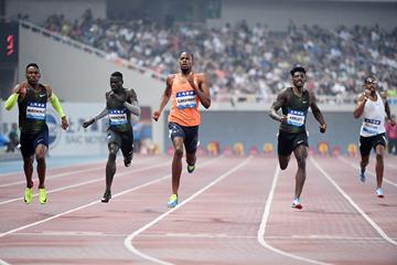 Steven Gardiner wins the 400m at the IAAF Diamond League meeting in Shanghai (Errol Anderson)