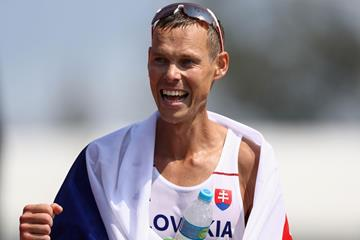 Matej Toth after winning gold in the men's 50km race walk at the 2016 Rio Olympic Games (Getty)