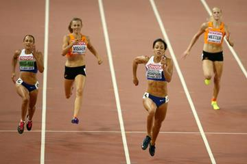 Katarina Johnson-Thompson in the heptathlon 200m at the IAAF World Championships, Beijing 2015 (Getty Images)