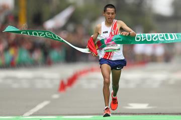 Christian Pacheco of Peru winning the Pan American Games marathon title in Lima (Getty Images)