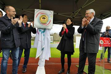 World Athletics Heritage Plaque ceremony, Decastar Talence, 29 March 2020 - left to right: Emmanuel Sallaberry, Mayor of Talence - Alain Cazabonne, MP - Agnès Versepuy, Vice President of the Region Nouvelle Aquitaine - Pierre Weiss, representing WA and FFA (Fabrice Leclair – Ville de Talence)