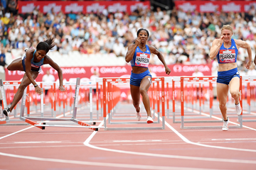 Kendra Harrison wins the 100m hurdles at the IAAF Diamond League meeting in London (Errol Anderson)