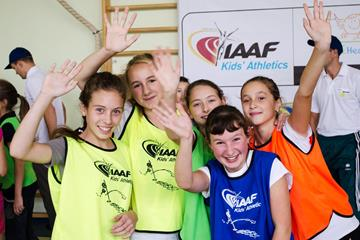 Schoolchildren at the IAAF / Nestlé Kids' Athletics activation in Lviv, Ukraine (Organisers)