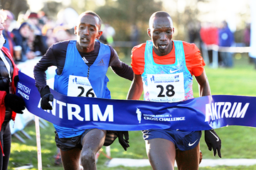 Timothy Cheruiyot (28) wins the men's race in Antrim (Mark Shearman)