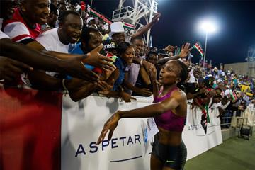 Kenya's Hellen Obiri celebrates her 3000m win in Doha (Anders and Hasse Sjogren)