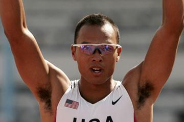 Bryan Clay celebrates after the Decathlon's Shot Put (Getty Images)