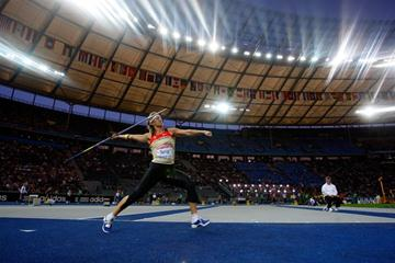 Germany's Steffi Nerius launches the javelin in the final of the women's event at the 12th IAAF World Championships in Athletics (Getty Images)