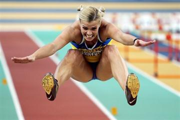 Natallia Dobrynska of Ukraine during the Pentathlon Long Jump (Getty Images)