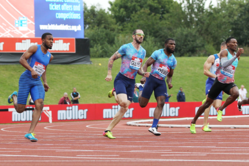 Ramil Guliyev on his way to winning the 200m at the IAAF Diamond League meeting in Birmingham (Jean-Pierre Durand)