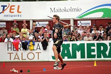 Andreas Thorkildsen throwing in Kuortane (Paula Noronen)