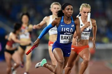Olivia Baker of the USA in the mixed 4x400m at the IAAF World Relays Yokohama 2019 (Getty Images)