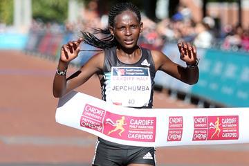 Violah Jepchumba winning the Cardiff Half Marathon (Organisers)