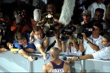 Journalists interview athletes in the Mixed zone at the IAAF World Championships (Getty Images)