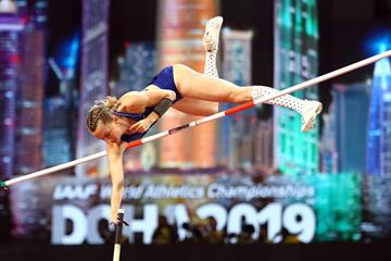 Anzhelika Sidorova vaults to victory at the IAAF World Athletics Championships Doha 2019 (Getty Images)