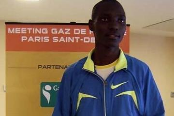 IAAF HPTC Eldoret trained Asbel Kiprop at the press conference in Paris (Chris Turner)