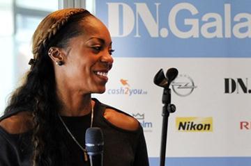 Sanya Richards-Ross in Stockholm with Sweden's European champion Moa Hjelmer (Deca Text & Bild)