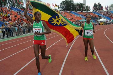 Tigist Gashaw celebrates her 1500m gold at the 2013 World Youth Championships (Getty Images)