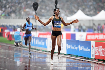 Beatrice Chepkoech wins the steeplechase at the IAAF Diamond League meeting in Shanghai (Errol Anderson)