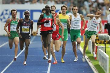 (L-R) Bernard Lagat of United States and Asbel Kipruto Kiprop of Kenya in an eventful 1500m heats (Getty Images)