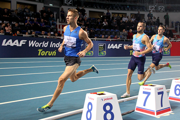 Action from the men's 1500m at the IAAF World Indoor Tour meeting in Torun (Jean-Pierre Durand)