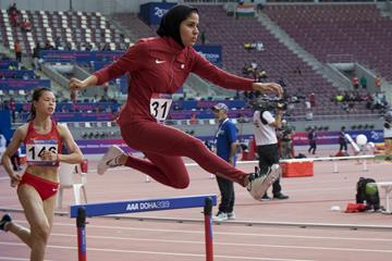 Qatari 400m hurdler Mariam Farid at the Asian Championships in Doha (Christel Saneh)