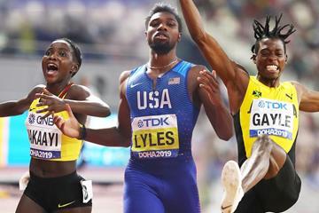 Halimah Nakaayi, Noah Lyles and Tajay Gayles at the IAAF World Athletics Championships Doha 2019 (Getty Images)