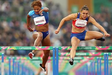 Andrea Vargas wins the 100m hurdles at the Pan-American Games in Lima (Getty Images)