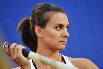 Yelena Isinbayeva in Rome where she improved her own world record to 5.03m (Getty Images)