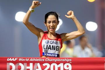 Liang Rui wins the 50km race walk at the IAAF World Athletics Championships Doha 2019 (Getty Images)
