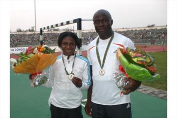 Ene Franca Idoko and Uchenn Emedolu of Nigeria after their 100m victories in Brazzaville (Louisette-R. Thobi)