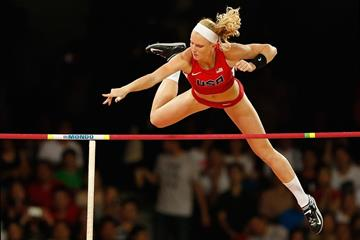 USA's Sandi Morris in the pole vault final at the IAAF World Championships Beijing 2015 (Getty Images)